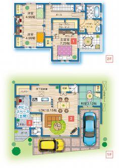 2F 子ども室はデスクまで作りつけたほうがスペース効率がいいのかも? House Layout Plans, House Layouts, House Floor Plans, Shoe Room, House Inside, Garage House, Japanese House, Ideal Home, House Rooms