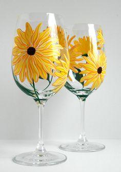 Yellow Sunflower Wine Glasses
