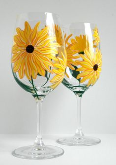 Yellow Sunflower Wine Glasses. Great Easter celebration glasses! Hand painted. Available from MaryElizabethArts.com