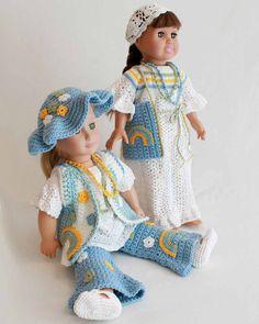 """Design by: Carol Ballard Skill Level: Easy Size:To fit 18"""" American Girl Doll Materials:Worsted Weight Yarn: Light Blue (LB) - 5 oz, 240 yd; (142 g, 218 m) Tie Dye Stripe (TD) - 2.5 oz, 120 yd (71 g,"""