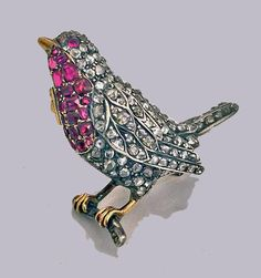 Antique Diamond and Ruby Robin red breast Bird Brooch Pin, English C.1890