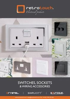 Retrotouch Wiring Accessories Brochure AW2017  Retrotouch the home of the premium light switches, plug sockets, wiring accessories, hidden audio system, thermostats and hotel room systems. Simply speaking the best light switches and designer-look electrical products at affordable prices.  Explore our range our products, drop us an email or give us call if you have any questions or need advise on any aspects of lighting and speak to one of our lighting experts.