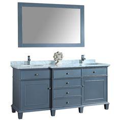 Found it at Wayfair - Cadence Double Sink Bathroom Vanity Set with Mirror Quartz Vanity Tops, Marble Vanity Tops, Marble Top, White Marble, Double Sink Bathroom, Bathroom Sink Vanity, Master Bathroom, Condo Bathroom, Modern Bathroom