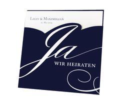 """Hochzeitseinladungen """"Blau"""" - Edler dunkelblauer Premiumkarton, exklusive Folienprägung und ein schimmerndes Einlegeblatt. Sehr elegant"""