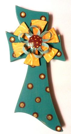 Turquoise/Yellow Flower Cross