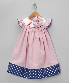 Take a look at this Red & Blue Seersucker Dress & Bow Clip - Infant, Toddler & Girls by Molly Pop Inc. on #zulily today!