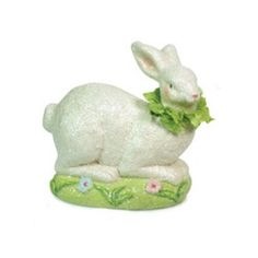 """6.5"""" Sweet Delights Laying Bunny Rabbit with Ruffled Collar Easter Figure - Adorable!"""