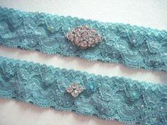Antique blue bridal garter