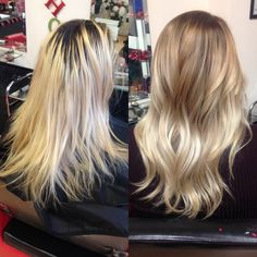 Incredible before and after of this hair transformation from grown out highlights with dark roots to beautiful platinum ash blonde balayage