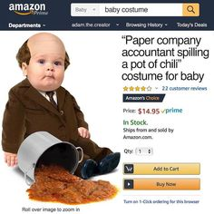 Paper Company Accountant Spilling a Pot of Chili Baby Costume Based on Kevin's Sad Scene From The Office
