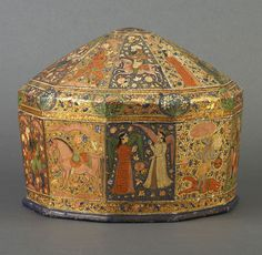 10-sided Turban Box. Hindu, Mughal and Persian styles and images are combined. 19th C. Kashmir was famous for its finely-painted papier-machÈ work, a technique with origins in Persia.