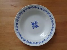 """Scandinavian Vintage Plate; ARABIA Suomi Finlandia Plate 9"""" /23 cm White & BLue Soup Plate; Classic Style Deep Plate with Floral Pattern"""