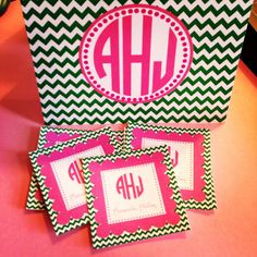 Chevron stationery and gift enclosure set by MissEmPrints on Etsy