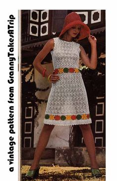 Vintage 1970s Crochet Pattern Pdf for LACY SUMMER DRESS from GrannyTakesATrip  0015