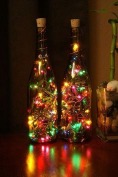 Wine Bottle Lights - Christmas lights are'nt just for Christmas anymore. All Things Christmas, Holiday Fun, Christmas Holidays, Christmas Decorations, Xmas, Christmas Lanterns, Lantern Decorations, Magical Christmas, Holiday Lights