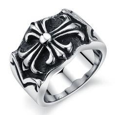 Domineering personal cross pattern Trend fashion man's titanium steel ring
