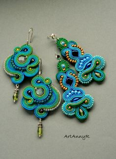 ArtAnnyR: Kolczyki sutasz Soutache Tutorial, Soutache Necklace, Earring Trends, Polymer Clay Charms, Fabric Jewelry, Mode Outfits, Beaded Embroidery, Handmade Necklaces, Bead Art