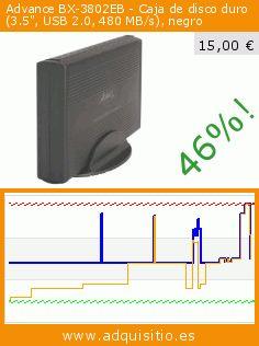 """Advance BX-3802EB - Caja de disco duro (3.5"""", USB 2.0, 480 MB/s), negro (Accesorio). Baja 46%! Precio actual 15,00 €, el precio anterior fue de 27,87 €. https://www.adquisitio.es/advance/advance-caja-externa-35-1"""