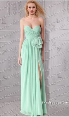 strapless sweetheart ruched thigh-high slit chiffon evening dress inspired by Kate Hudson Tiffany Co Blue Book Ball New York http://www.IkmDresses.com/strapless-sweetheart-ruched-thigh-high-slit-chiffon-evening-dress-inspired-by-Kate-Hudson-Tiffany-Co-Blue-Book-Ball-New-York-p59470