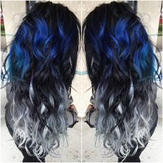 Freakin gorgeous blue, black and silver colored hair! #haircolor #bluehair #blackhair #silverhair #pulpriothair