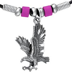 Wheeler Soaring Eagle Corded Necklace with Beads. Soaring Eagle Pewter Choker with Black Cord. Chrome and bead accents provide authentic flare bead color varies. Hand-tied black cord secures the jewelry while adding a nice hand crafted touch. North American Native American Design.