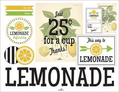 Freebie Friday: Lemonade Stand Free Printables - Double the Fun Parties ®