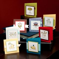"3X3"" mini cards showcasing Stampin' Up!'s Easy Events stamp set (from Easy Events Card Class)"