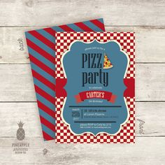Vintage Inspired Pizza Party Birthday Invitations by PPDesignCo