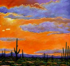 """Saguaro Sunset"" - Southwestern Landscape Art by Johnathan Harris"