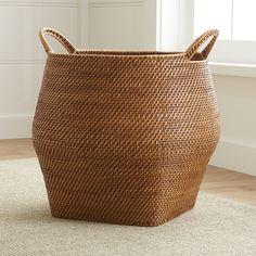 Sedona Honey Round Rattan Storage Basket | Crate and Barrel
