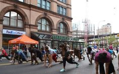Summer Streets in NYC, walking cycling, yoga and more where the cars usually roll. Charles Montgomery, Happy City, Summer Street, Manhattan, Cycling, Walking, Street View, Nyc, Yoga