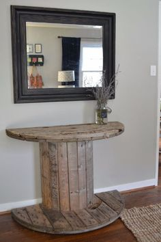 DIY Farmhouse Style Decor Ideas for the Bedroom - DIY Wooden Spool Console Table - Rustic Farm House Ideas for Furniture, Paint Colors, Farm House Decoration for Home Decor in The Bedroom - Wall Art, Rugs, Nightstands, Lights and Room Accessories http://diyjoy.com/diy-farmhouse-decor-bedroom