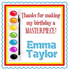 Painting Birthday Party Stickers, Paint Box, Art, Painting Party, Birthday, Rainbow, favor, labels, set of 20 glossy  stickers