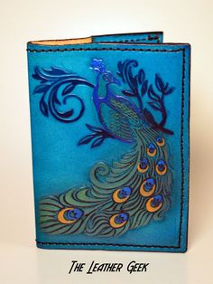 Peacock leather journal Travel journal passport cover