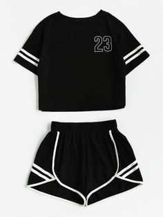 2018 Tracksuit Women Two Piece Set Summer T Shirt Crop Tops and Shorts Set Fashion BTS Kpop Stripe Lady Track Suit Set 2 Pieces - Lilly is Love Lazy Outfits, Crop Top Outfits, Teenager Outfits, Teen Fashion Outfits, Mode Outfits, Short Outfits, Outfits For Teens, Girl Outfits, Casual Outfits