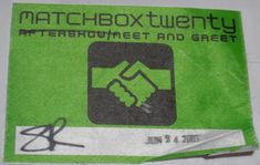 Matchbox Twenty Tour 2003 Vintage After Show Meet and Greet Pass Sticker VG From The Mighty Finwah Collection Safely Stored For Over 16 Years UNIQUE ITEMS FOR UNIQUE PEOPLE Shipping will be within 2 days of your payment All Sales are Guaranteed Satisfaction We are Fans so we know what fans Expect Matchbox Twenty, Backstage, Fans, Meet, Tours, Stickers, Unique, People, Collection
