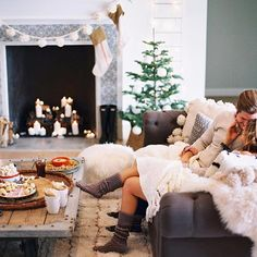 Contax645 | Portra800 | PhotoVision | SP3000 | Cozy Christmas holiday fireplace shoot, styled couple at home captured by fine art film photographer @melissajill | #cokestyle @cocacola @alexandraevjen @jittvintage @rafterhouse