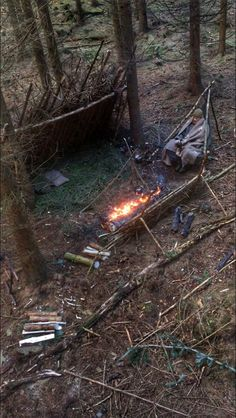 Lean-to shelter with bough bed, a tripod chair, and a long fire
