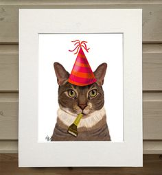 Tabby cat art  party cat  tabby cat print tabby cat painting
