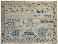 1830 Sampler by Rebecca Ballinger. Born in Maryland and moved with her family to Ohio in 1819.Smithsonian Institution.