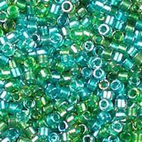 Miyuki 11/0 (1.6mm) Delica Sparkle Lined Aqua Fresco Mix glass cylinder beads, colour number DB 984. UK seller.