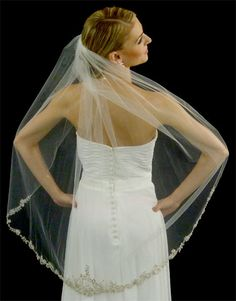 Beaded Silver Metallic Lace Fingertip Length Wedding Veil - Affordable Elegance Bridal -