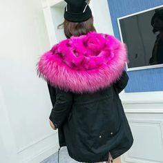High Quality Pink big raccoon fur collar outwear thick FOX leg fur inside jacket women winter real fur hooded coat