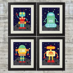 Robot Nursery Art,  Robots in Outer Space Nursery Art , Set of 4-  8x10 Prints, Featuring 4 Cute Robots