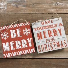 8 Wood RAZ Exclusive Farmhouse Style Red And White Christmas Signs In Two Assorted Styles Including Be Merry Or Have Yourself A Little