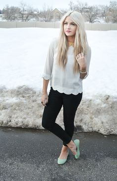 Obsessed with the blouse and mint shoes :)