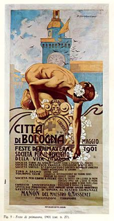 Bologna Spring Festival poster by Marcello Dudovich Vintage Italian Posters, Vintage Travel Posters, Vintage Art, Belle Epoque, Art Nouveau Poster, Poster Fonts, Railway Posters, Fashion Illustration Vintage, Italian Painters