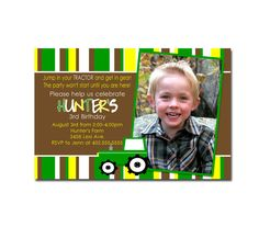 Custom Green Tractor Inspired Birthday Party Invitation Card   - You Print. $12.00, via Etsy.
