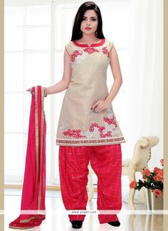 Energetic Art Silk Hot Pink And White Embroidered Work Readymade Suit Model: YOS9183