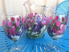Items similar to Pink Tulip Garden Hand Painted Pitcher and Beverage Glasses on Etsy Decorated Wine Glasses, Hand Painted Wine Glasses, Wine Glass Crafts, Wine Bottle Crafts, Pebeo Porcelaine 150, Tulips Garden, Wine Bottle Art, Pink Tulips, Bottle Painting